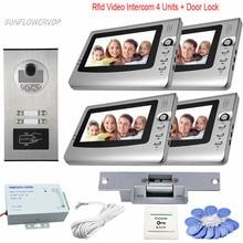 Cheap price Rfid Access Doorphone With 7-inch Video Intercom Monitors 4 Units Video Door Phone With Camera + Electric Strike Lock Doorbell
