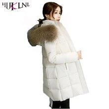 HIJKLNL winterjassen dames Long Jacket Women 2017 Plus Size Hooded Fur Collar Winter Thick Jacket Coat Cotton Parka Mujer NA391