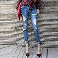 American apparel высокой талией джинсы женщина Случайные рваные джинсы женщины pantalon femme Ретро Отверстие Джинсы Плюс Размер Закатать джинсы