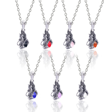 Vintage Animal Dragon Biting Crystal Ball Necklace for women Ancient Chinese Dragon Colorful Crystal Pendant Necklace vintage artificial crystal floral necklace for women