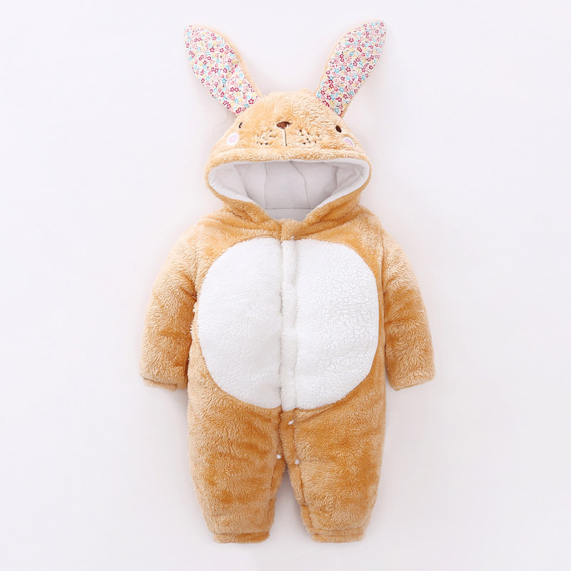 YiErYing Baby Boys Girls Clothes Thickening Romper Autumn Winter Thermal Cartoon Rabbit Hooded Long Sleeve Newborn Jumpsuits cotton baby rompers set newborn clothes baby clothing boys girls cartoon jumpsuits long sleeve overalls coveralls autumn winter