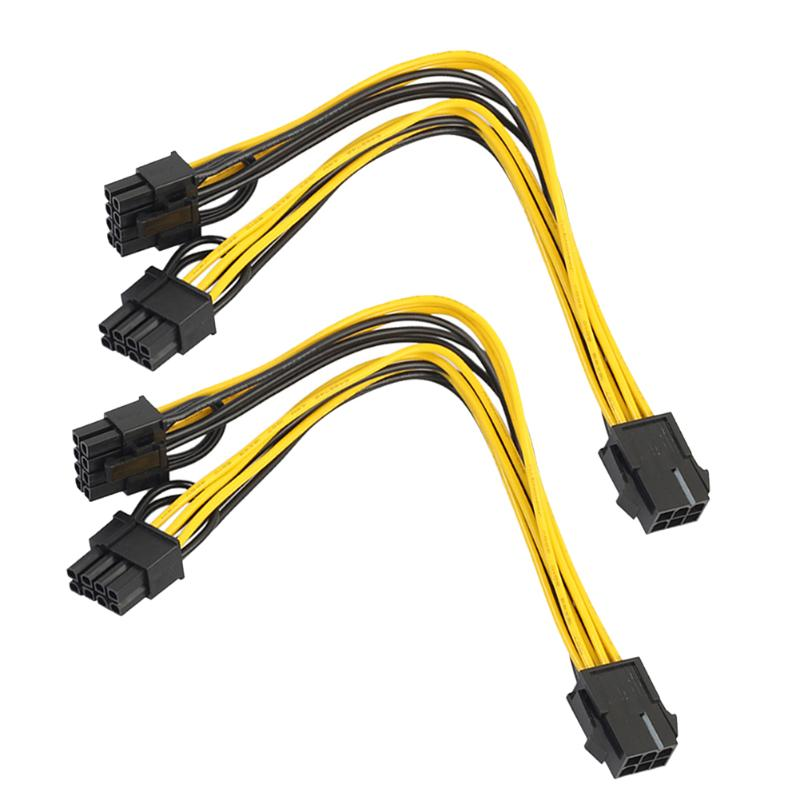 2pcs CPU 6Pin to Graphics Video Card Double PCI-E PCI Express 8Pin (6Pin+2Pin) Power Supply Cable 20cm PCIe Connector Cables кабель питания 20 shippment mac pro g5 mac 6pin 2 pci e 6pin 4500 gtx285 hd4870 hd5770 gtx285