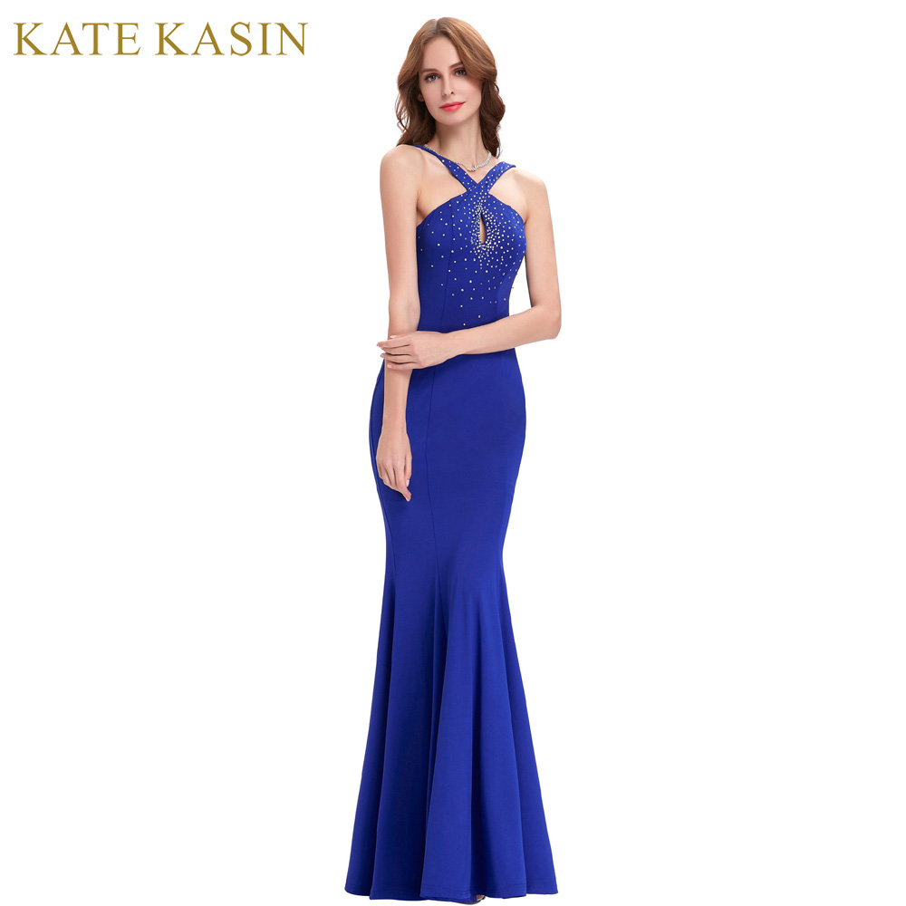 Kate Kasin Royal Blue Long Prom Dresses 2017 Elegant Floor Length Slim Bandage Evening Party Crystal Beading Mermaid Prom Dress ...