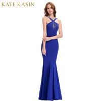 Kate Kasin Royal Blue Long Prom Dresses 2017 Elegant Floor Length Slim Bandage Evening Party Crystal
