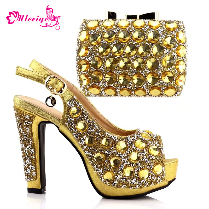 golden Nigerian Party Shoe and Bag Sets Decorated with Rhinestone African Wedding Shoe and Bag Set Party Shoes and Bag