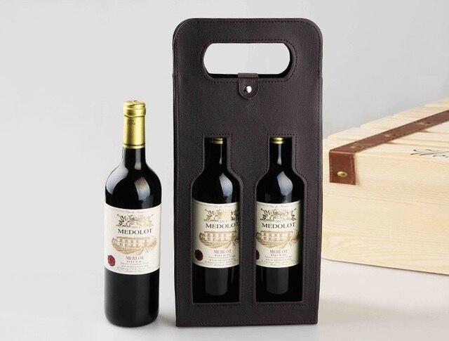 Sac fourre-tout en cuir PU 10 pièces | De luxe Portable cuir PU Double vin rouge ajouré sacs, boîtes de rangement de cadeaux avec poignée