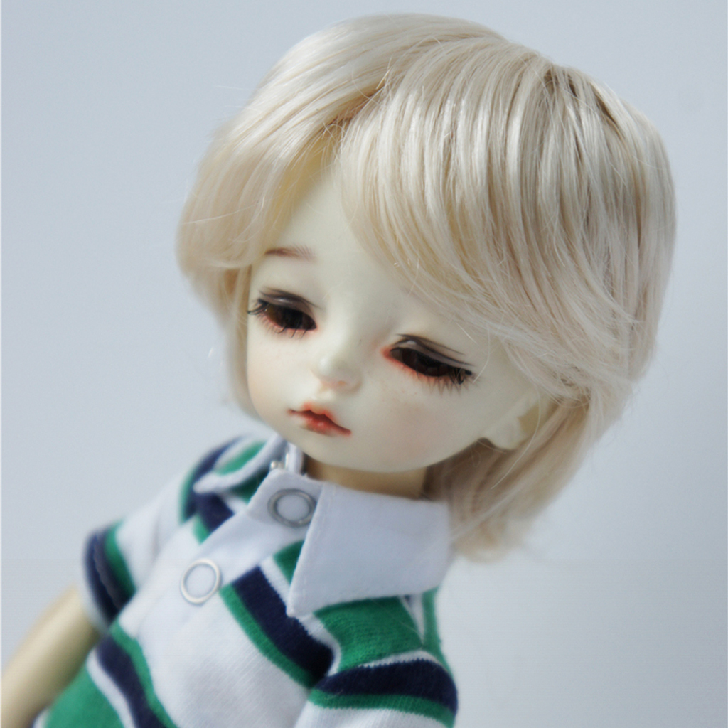 Classic Bob Wig Short Hairdo Wig Doll Imitation Mohair Curly Wig Hair For 1:6 BJD/ Uncle Dolls Accessories Light Golden