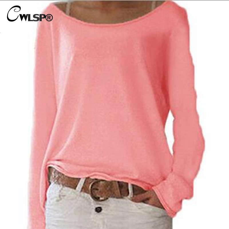 CWLSP 2018 Sexy Plus Size S-3XL 10 Colors Solid T-shirt For Women Long Sleeves O-neck See Through Casual Top Basic Tee QZ2480
