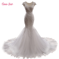 Taoo Zor Sang Trọng Beading Net Ngọc Trai Mermaid Wedding Dresses 2017 Cap-Tay Áo Chapel Train Scoop Neck Appliques Robe De Mariage