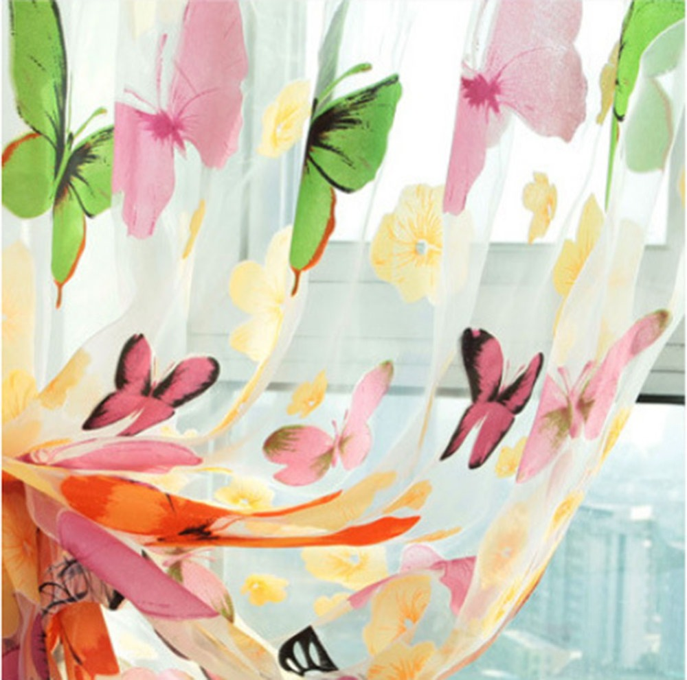 Meijuner Curtain Butterfly Yarn Glass Printing Screen Sample Window Curtain Tulle Window Screens Sheer Voile Door Curtains Drape