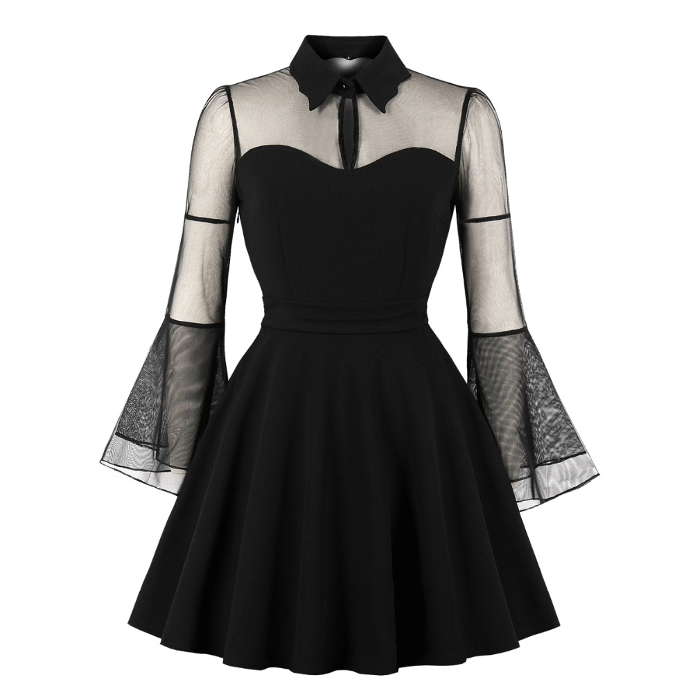 Women Elegant Gothic Sexy Plus Size Dress Autumn Black Mesh Patchwork See-Through Flare Sleeve Draped Party Ball Gown Dresses