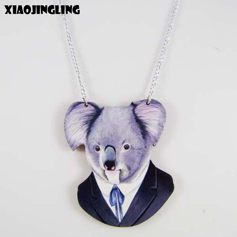 XIAOJINGLING European Design Natural Wood Animal Koala Necklace Creative Charm Long Sweater Chain Necklaces For Women Jewelry