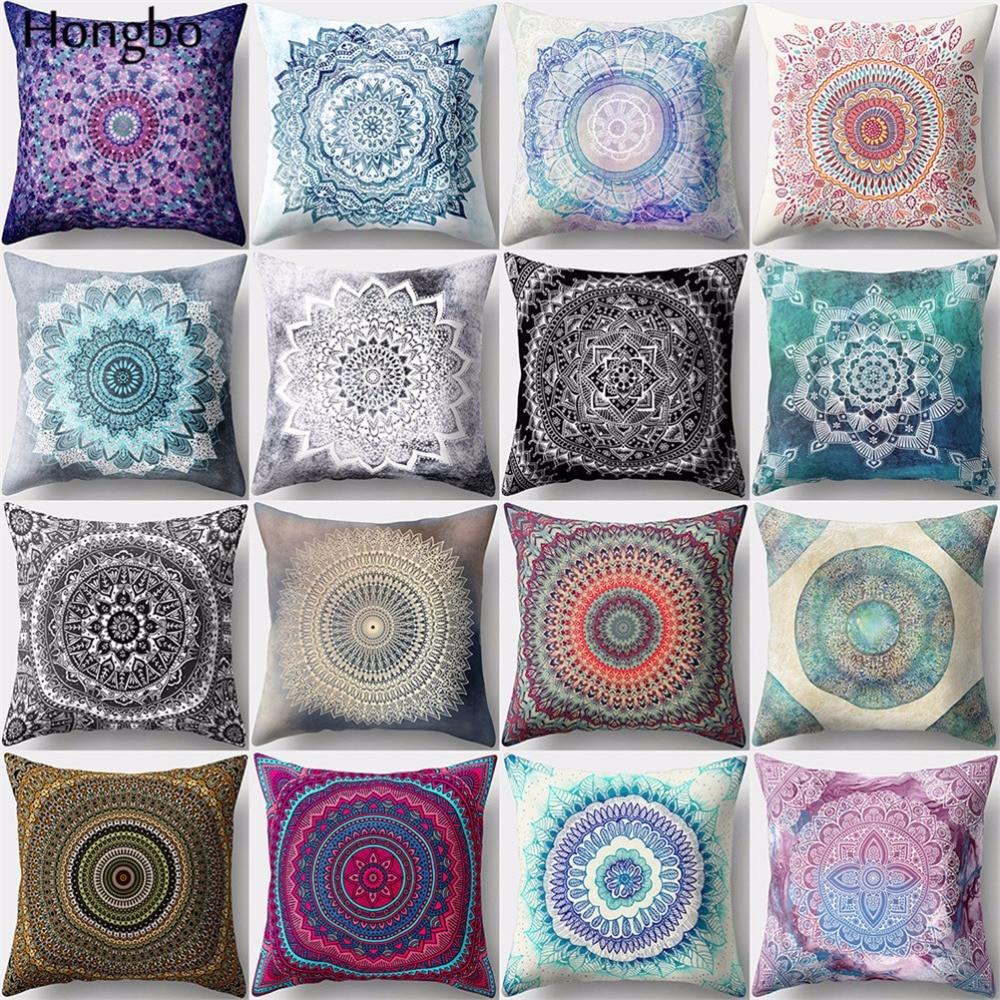 Hongbo 1 Pcs Datura Cushion Cover Decoration Mandala Printed Pillow Case Pillowcase For Bedroom Sofa Car Seat Chair Decoration