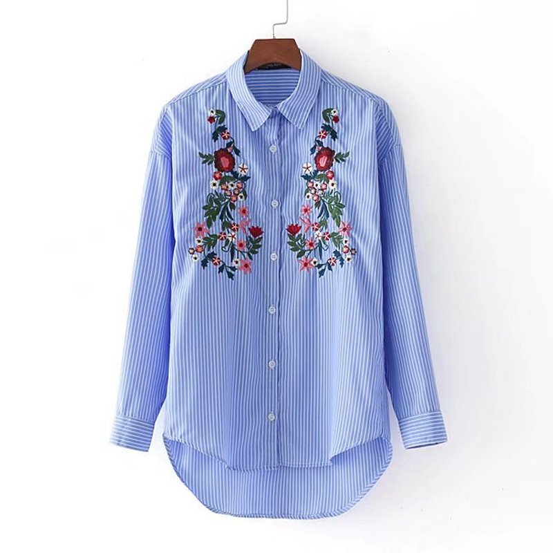 Aliexpress.com : Buy Women Premium Flower Embroidery Blue White ...