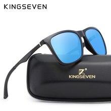Kingseven óculos de sol masculino polarizado, óculos de sol masculino polarizado, de alumínio, com proteção uv n7536 100%