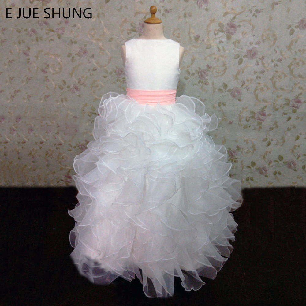 E Jue Shung White Organza Tiered Ball Gown Flower Girl Dresses