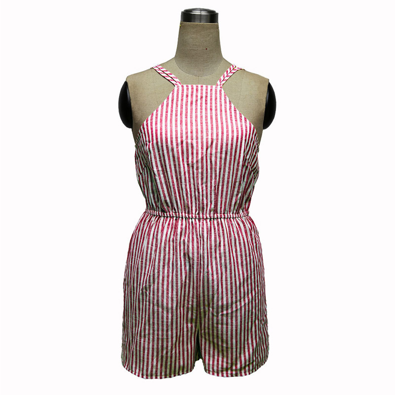 52f12b9ff383 Women s Elegant White Red Stripe Sexy Backless Casual Party Summer Beach  Sleeveless Short Lolita Romper Playsuit 501873-in Rompers from Women s  Clothing on ...