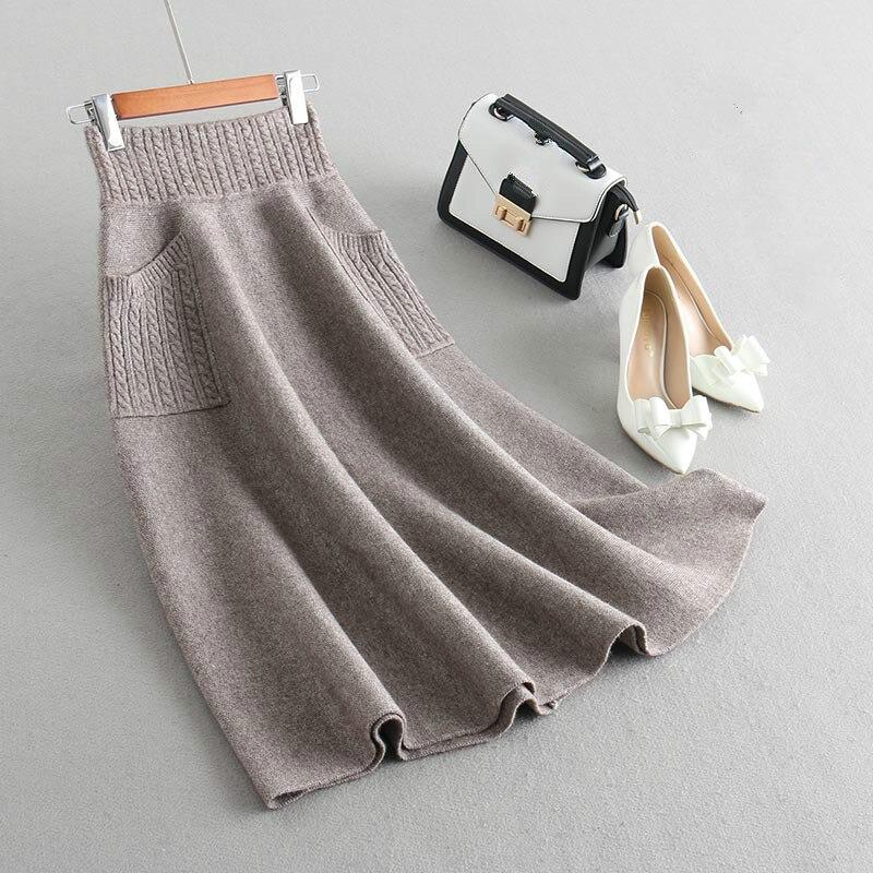 Falda larga de punto gruesa de invierno 2019 nueva falda de bolsillo Falda de punto de moda-in Faldas from Ropa de mujer    1