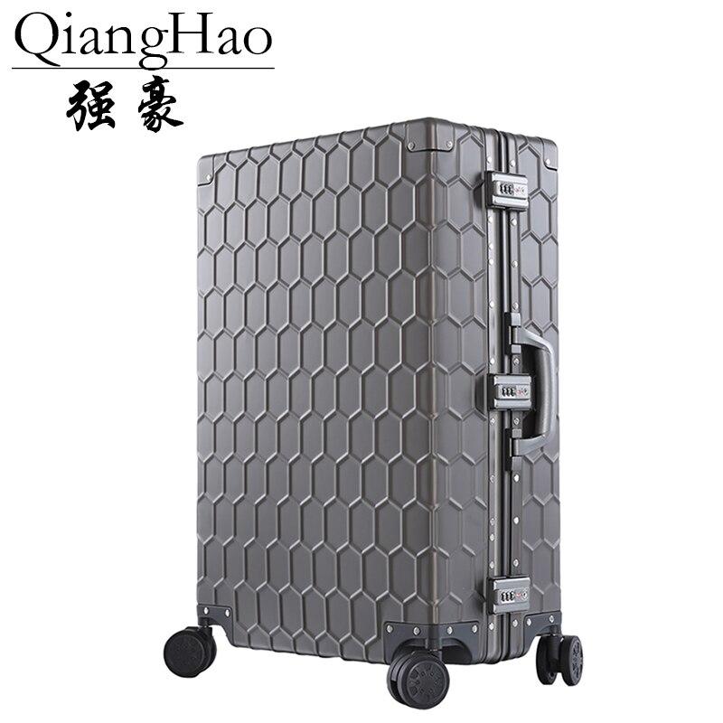 Travel Trolley Luggage Suitcase 100 Aluminum alloy With TSA Lock Hardside Rolling Luggage Suitcase With Wheels