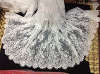 Ivory Cording French Chantilly Raschel Lace Fabric ,Lace Material Wholesale and retailer 3 meters per pc