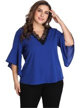 Women Plus Size Tops V Neck Ruffles Lace Blouse Solid Chiffon Casual Summer Office Lady Mature Sexy Clothes Female 2019