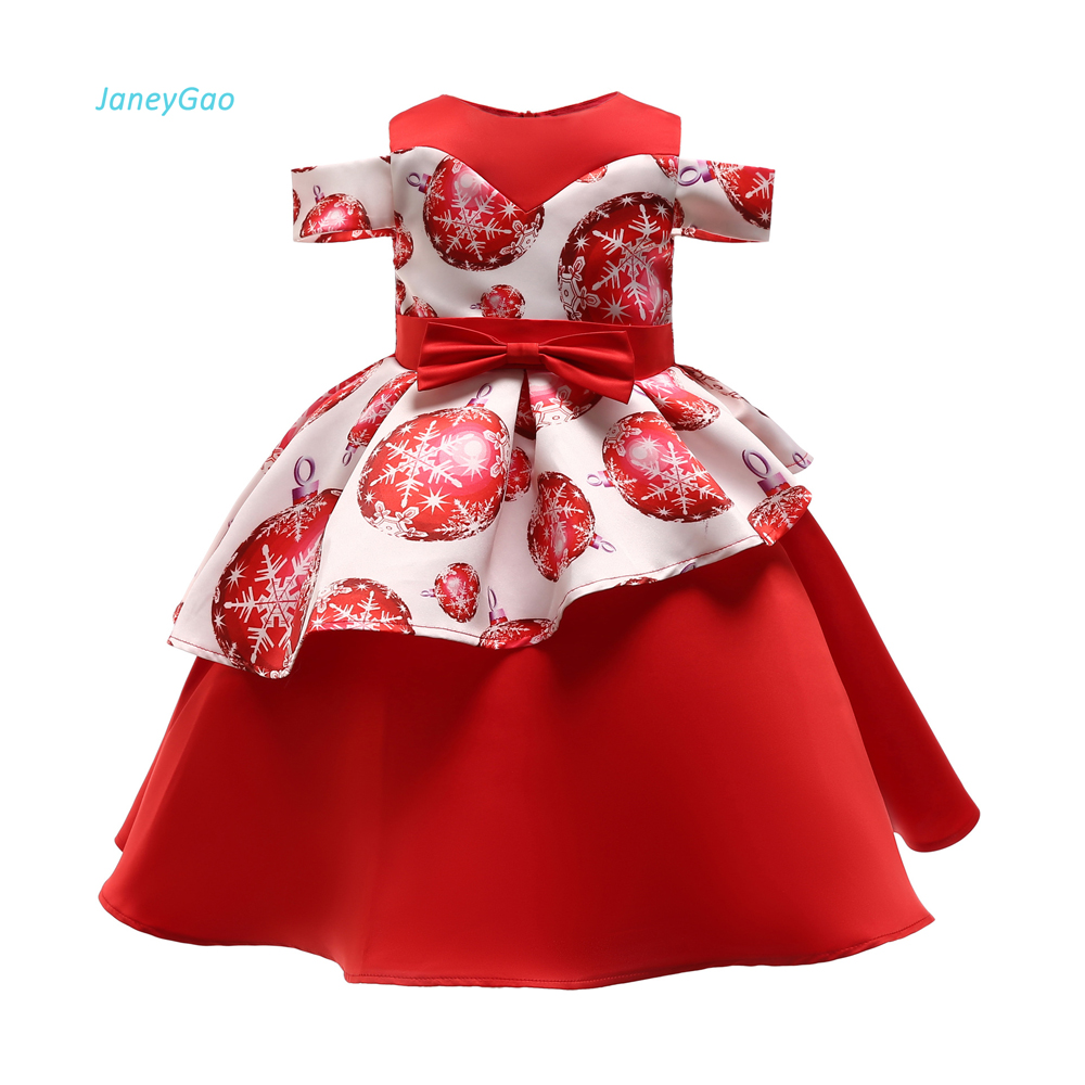 JaneyGao   Flower     Girl     Dresses   For Wedding Party Short Red Satin Little   Girls     Dresses   Children's Formal Gown For Prom Party 2019