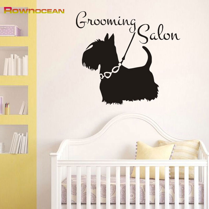 grooming salon cute dog animals interior home decoration wall stickers for kids rooms vinyl removable waterproof