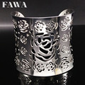 Fashion Stainless Steel Hollow Flower Bangles Bracelets Women Gold Silver Wide open cuff Bangle Jewelry brazaletes anchos B68273
