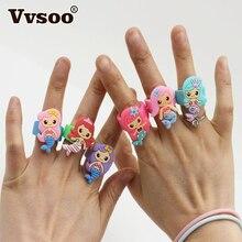 Vvsoo, 6 uds., anillo suave de sirena, pulsera de silicona, decoraciones para fiesta de cumpleaños, niños, fiesta de sirena, Baby Shower, regalos obsequios fiesta