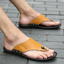 The trend of men's large size sandals casual leather slippers Male summer beach SUB1150