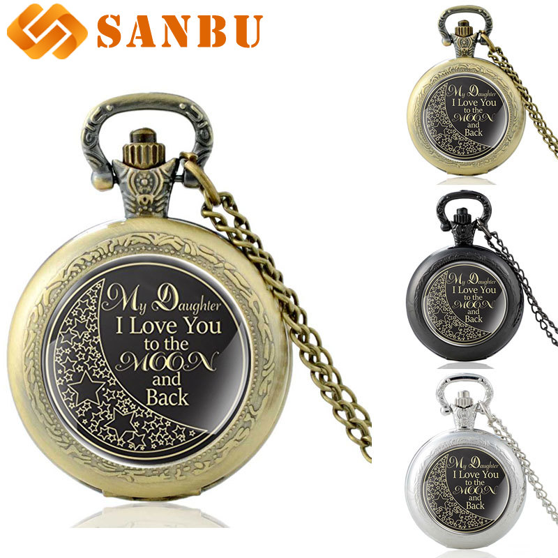 Fashion My Daughter L Love You To The Moon And Black Quartz Pocket Watch Vintage Bronze Necklace Jewelry Gifts For Daughter