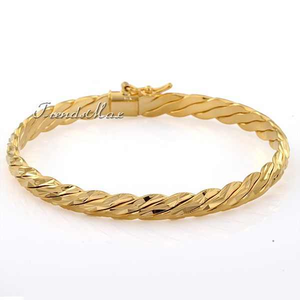 6mm Shiny Cut Wide Rope Womens Girls  Bracelet 18KYellow Gold Filled Bangle Bracelet GF Jewelry Bracelet Bangle GB240