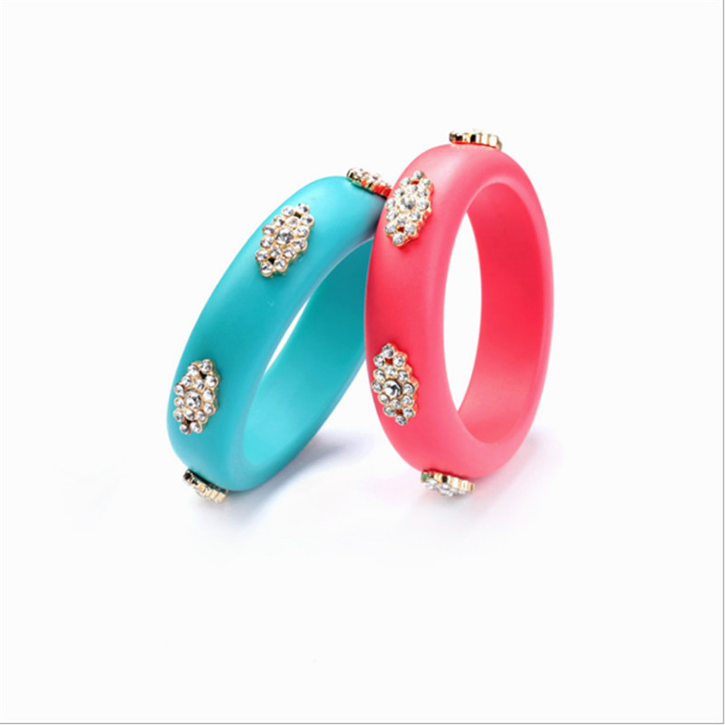 Hyperbole Women Bracelets & Bangles pink blue color with crystal elegant party accessories top quality Jewelry for ladies