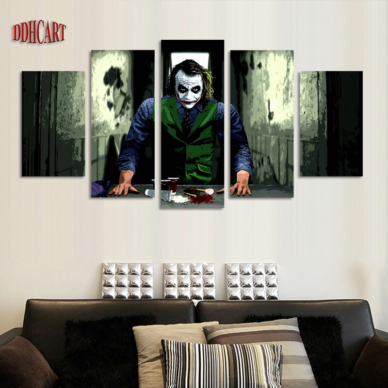 5 Piece Dark Knight Joke Picture Painting On Canvas For Wall Art Home Decoration Living Room
