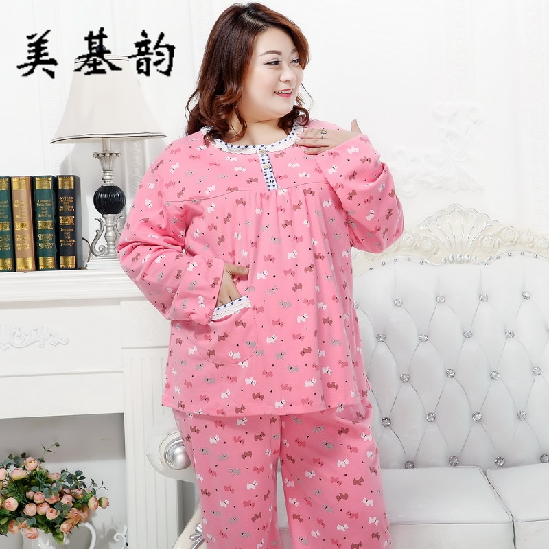Free Shipping Women Spring Autumn 100 Cotton Pullovers Pajama Sleepwear Set Long Sleeve Long pants Large