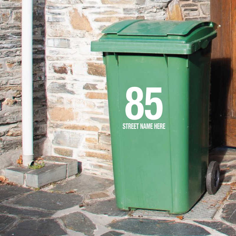 Мусорное ведро на заказ номер дома и имя улицы художественные наклейки, персонализированные настройки мусорное ведро искусство наклейки мусорное ведро Декор