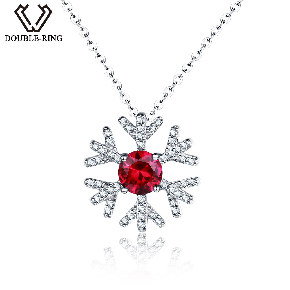 DOUBLE R Genuine Solid 925 Sterling Silver snowflake Pendants Created Red Ruby necklaces for women