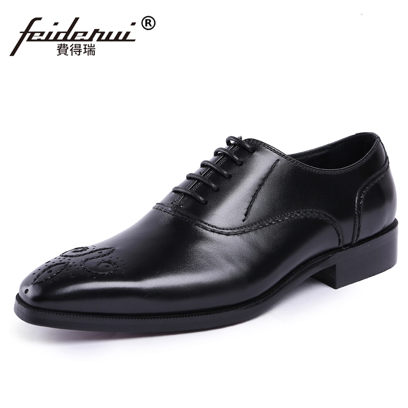 High Quality Formal Dress Man Carved Brogue Shoes Genuine Leather Round Toe Men's Handmade Wedding Party Oxford Footwear JS55