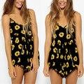 Women Summer Sexy High Waist Shorts Sunflower Print Hot Short Pants Jumpsuit