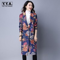 Retro Folk Floral Printed Womens Trench Lapel Collar Long Coat Autumn Loose Fit Overcoats Warm Velvet Female Jaqueta Large Size