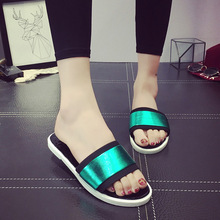 Women Sandals Platform Rainbow Non-Slip Thick Soled Female Wedge Women Slippers Summer 2016 Beach Slippers,free shipping