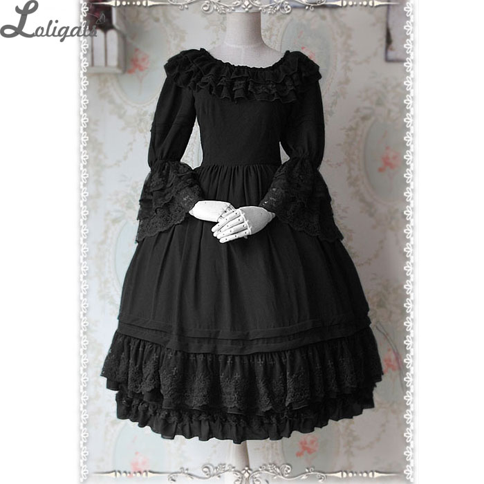 Gorgeous Custom Tailored Classic Lolita Dress Ruffled Flare Sleeve Chiffon Vintage OP Dress by Infanta