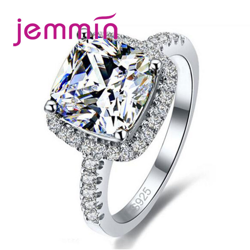 Classic Engagement Ring For Women Valentine Present Fashion CZ Crystal 925 Silver Mid Ring Cubic Zirconia Promise Jewelry