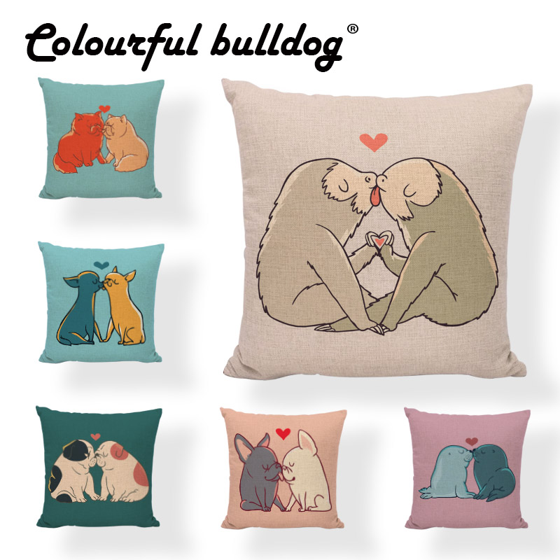Love Each Other Sloth Garfield French Bulldog Pug Fox Pomeranian Sea Lion Cushion Cover 45*45cm Heart-shaped Decorate Home Couch