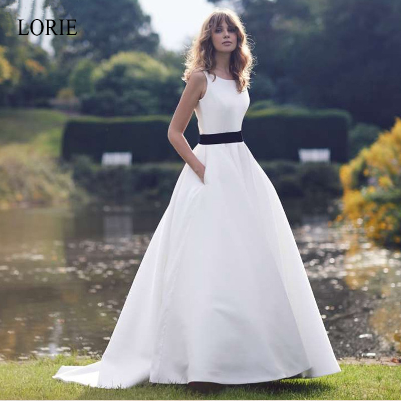 LORIE Boho A line Wedding Dresses 2019 Sweep Train Satin Bridal Dress Back Button Simple vestido