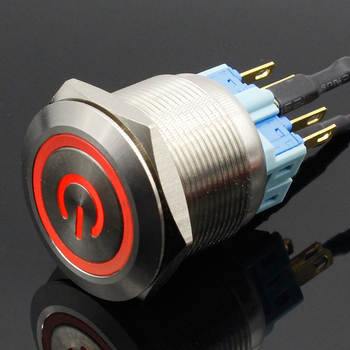 1pc 6Pin 25mm Metal Stainless Steel Momentary/Latching LED Push Button  Switch Car Auto Engine Start PC Power Symbol
