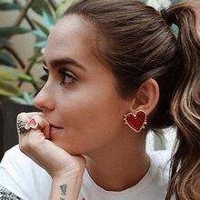AENSOA Vintage Bohemia gran corazón rojo pendientes para mujer 2019 moda chica grande dulce corazón declaración pendientes fiesta joyería