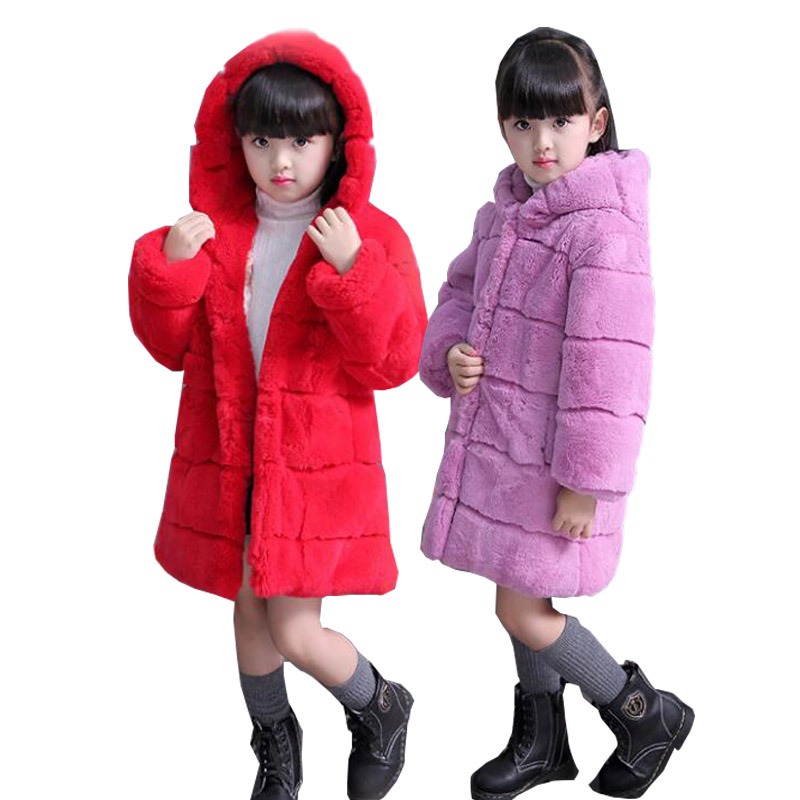 2017 Grils imitated Whole Rabbit Fur Coat Autumn Winter Children Warm Long Coats Hooded Jacket Babys  Outerwear Clothing