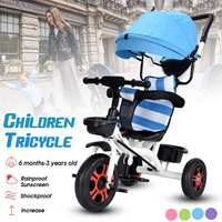Children Tricycle Bike Baby Carriage with 3 Wheels Shopping Basket Baby Car Travel Bicycle Stroller Trike