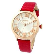 Disney бренда женские часы Ретро мозаика Микки Женщины кварцевые 30 м водонепроницаемый женщины Кожа наручные часы